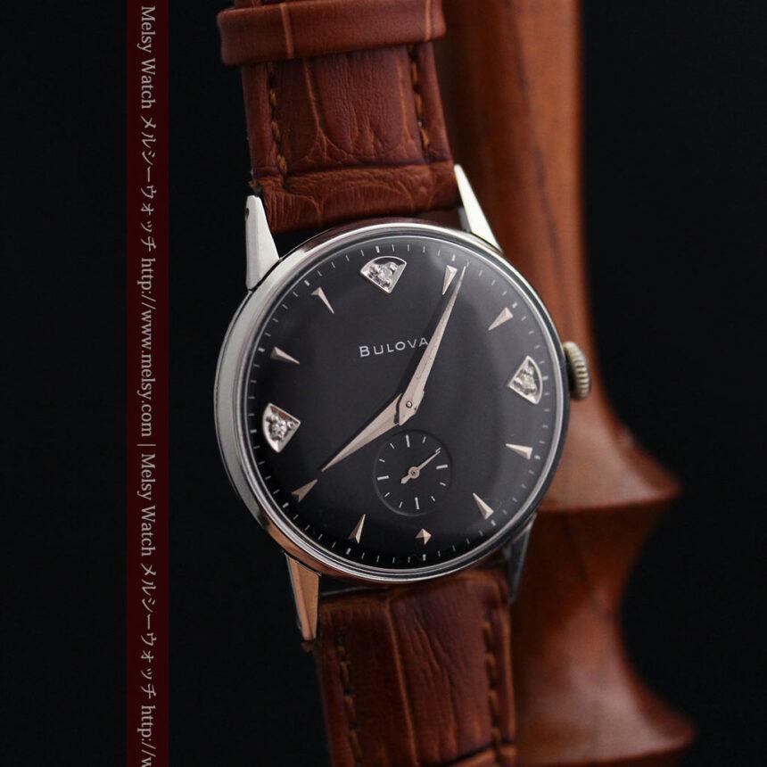 黒にダイヤモンドの映えるブローバの1954年製のアンティーク腕時計-W1447-9