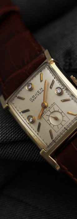 グリュエンの1945年頃のダイヤモンド装飾が綺麗なアンティーク腕時計-W1448-1