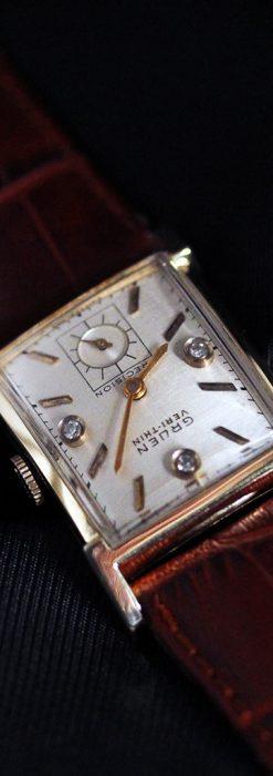 グリュエンの1945年頃のダイヤモンド装飾が綺麗なアンティーク腕時計-W1448-10