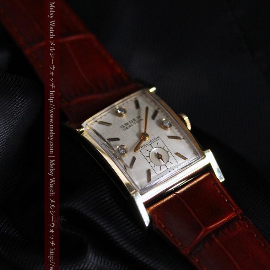 グリュエンの1945年頃のダイヤモンド装飾が綺麗なアンティーク腕時計-W1448-11