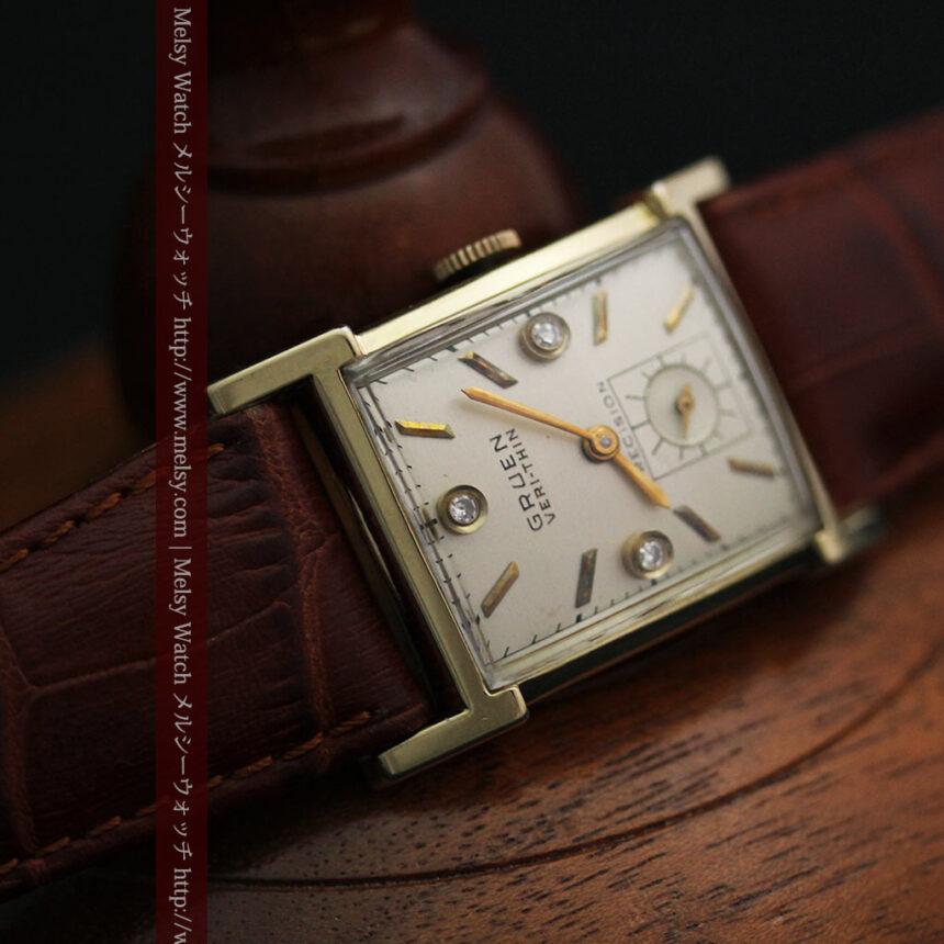 グリュエンの1945年頃のダイヤモンド装飾が綺麗なアンティーク腕時計-W1448-12