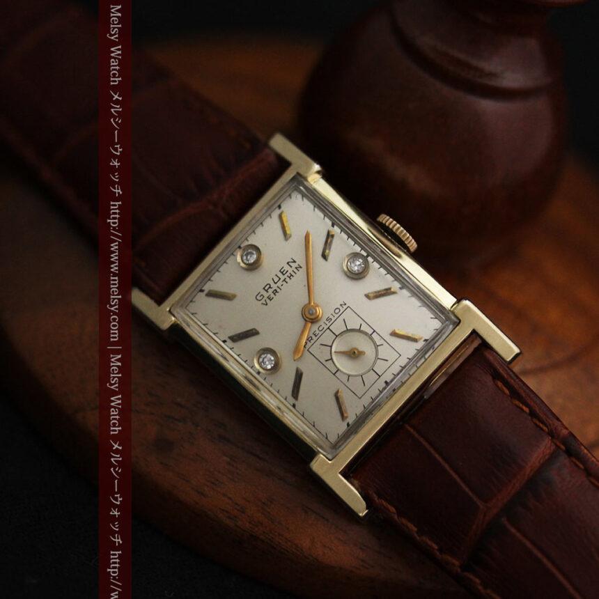 グリュエンの1945年頃のダイヤモンド装飾が綺麗なアンティーク腕時計-W1448-13