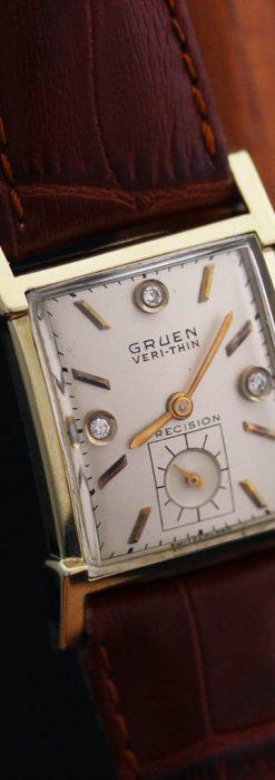 グリュエンの1945年頃のダイヤモンド装飾が綺麗なアンティーク腕時計-W1448-14