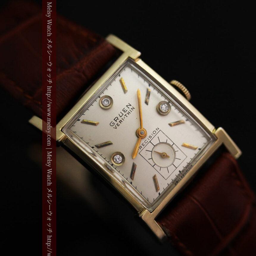 グリュエンの1945年頃のダイヤモンド装飾が綺麗なアンティーク腕時計-W1448-15