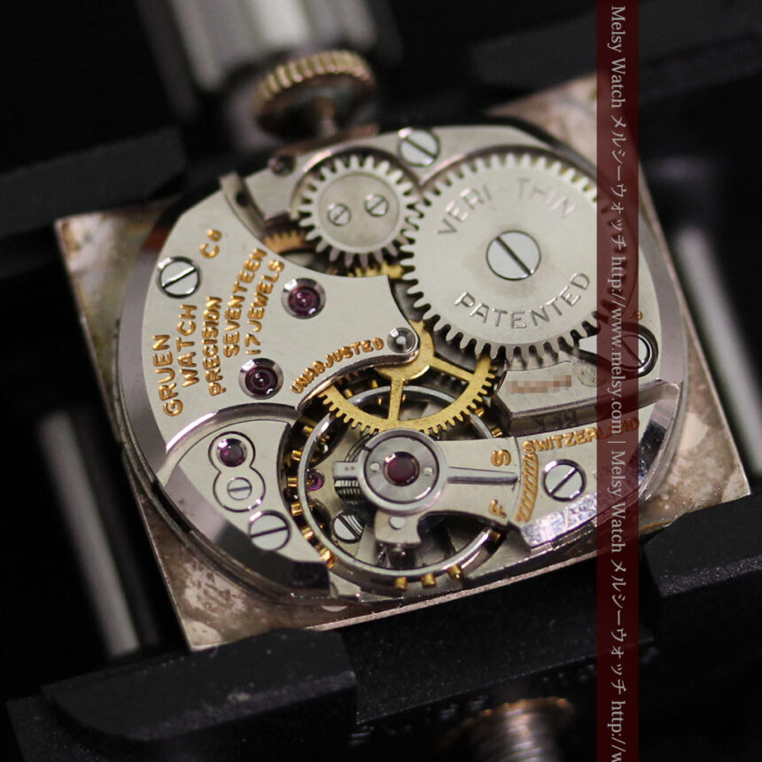 グリュエンの1945年頃のダイヤモンド装飾が綺麗なアンティーク腕時計-W1448-18