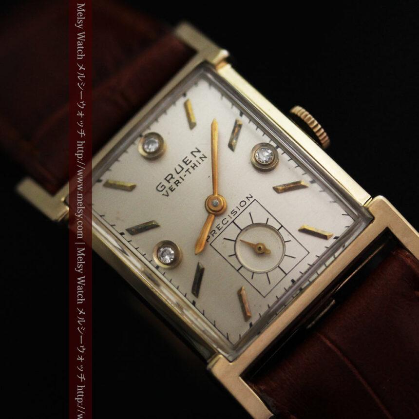 グリュエンの1945年頃のダイヤモンド装飾が綺麗なアンティーク腕時計-W1448-2