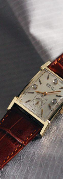 グリュエンの1945年頃のダイヤモンド装飾が綺麗なアンティーク腕時計-W1448-4