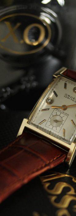 グリュエンの1945年頃のダイヤモンド装飾が綺麗なアンティーク腕時計-W1448-5