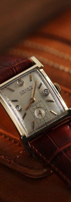 グリュエンの1945年頃のダイヤモンド装飾が綺麗なアンティーク腕時計-W1448-6