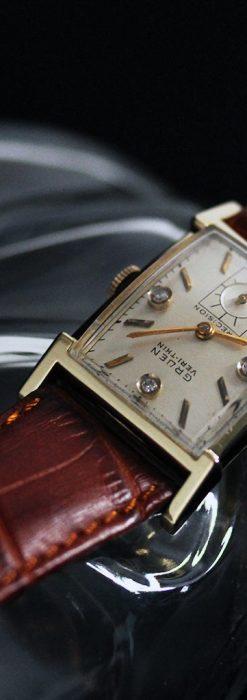 グリュエンの1945年頃のダイヤモンド装飾が綺麗なアンティーク腕時計-W1448-7