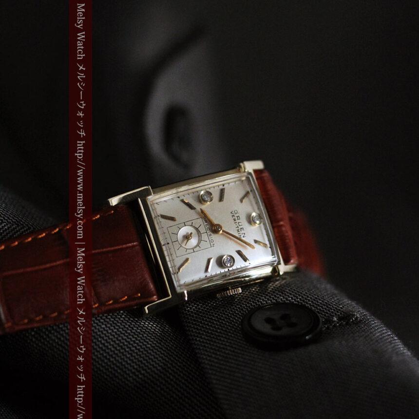 グリュエンの1945年頃のダイヤモンド装飾が綺麗なアンティーク腕時計-W1448-8