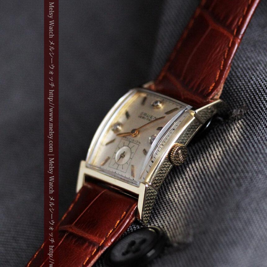 グリュエンの1945年頃のダイヤモンド装飾が綺麗なアンティーク腕時計-W1448-9
