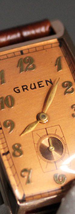 グリュエンのローズ色のアンティーク腕時計-W1455-1