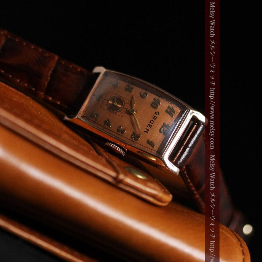 グリュエンのローズ色のアンティーク腕時計-W1455-10