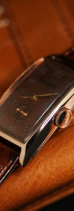 グリュエンのローズ色のアンティーク腕時計-W1455-11