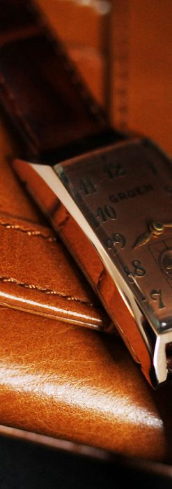 グリュエンのローズ色のアンティーク腕時計-W1455-12