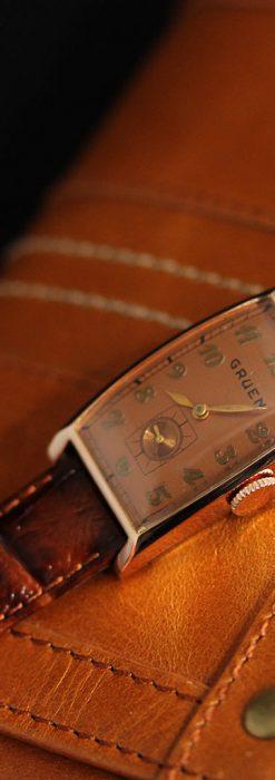 グリュエンのローズ色のアンティーク腕時計-W1455-13