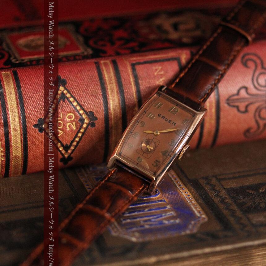 グリュエンのローズ色のアンティーク腕時計-W1455-2