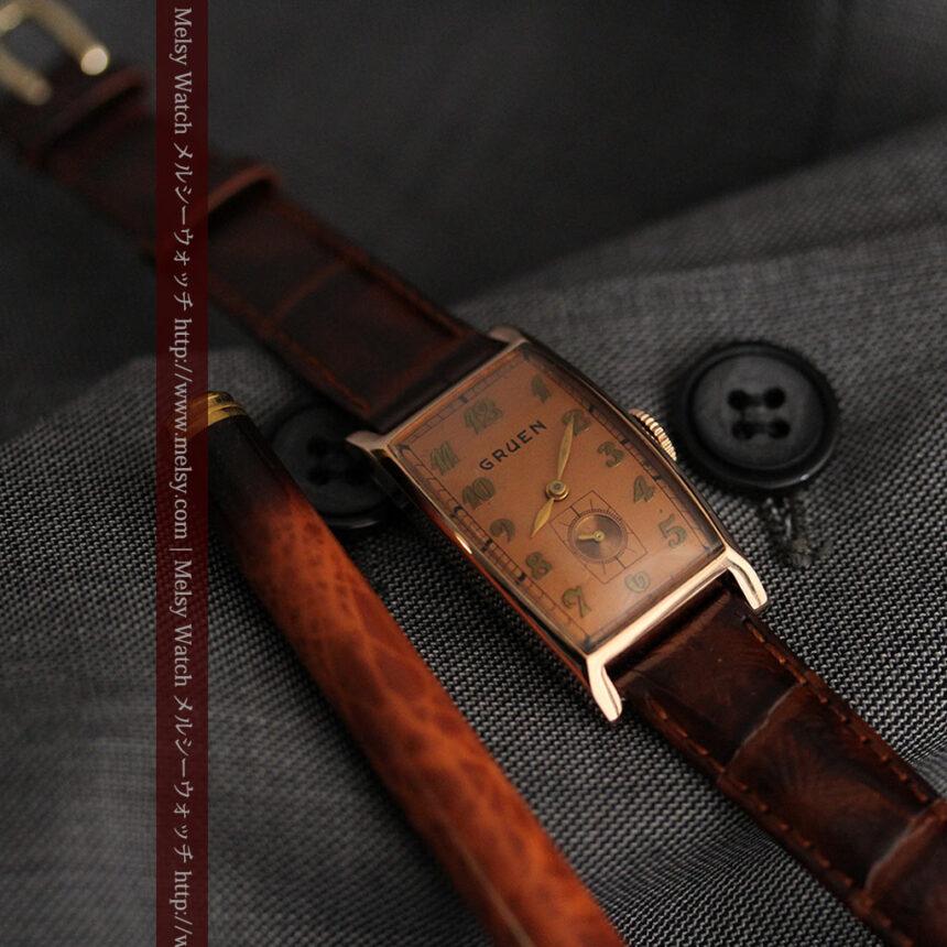 グリュエンのローズ色のアンティーク腕時計-W1455-3