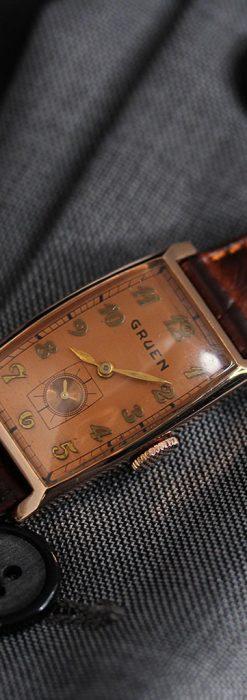 グリュエンのローズ色のアンティーク腕時計-W1455-4