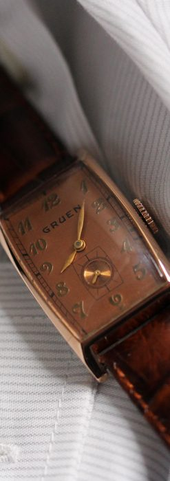 グリュエンのローズ色のアンティーク腕時計-W1455-5