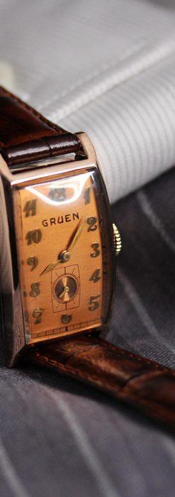 グリュエンのローズ色のアンティーク腕時計-W1455-6