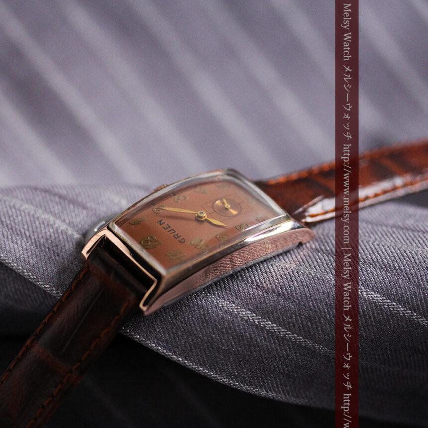 グリュエンのローズ色のアンティーク腕時計-W1455-7
