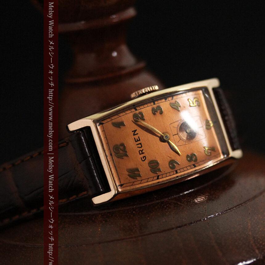 グリュエンのローズ色のアンティーク腕時計-W1455-8