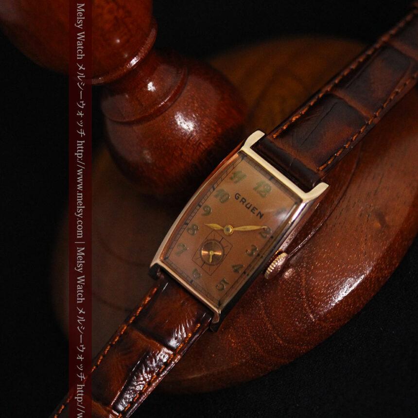 グリュエンのローズ色のアンティーク腕時計-W1455-9