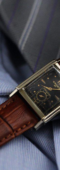 グリュエンの少し小さめの黒文字盤のアンティーク腕時計-W1459-1