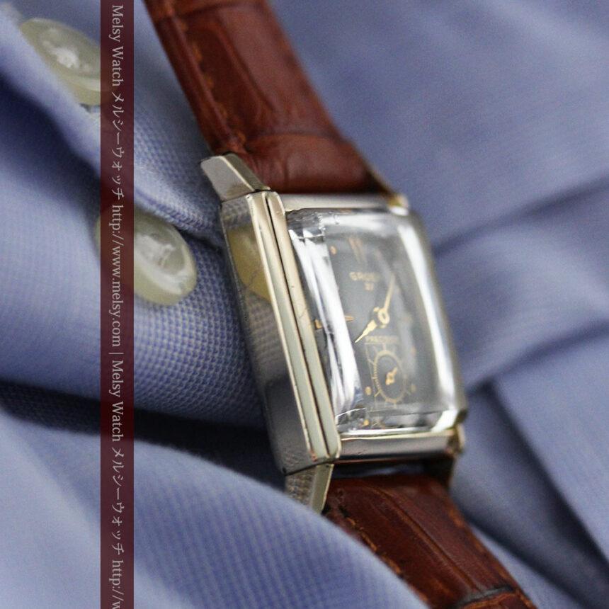 グリュエンの少し小さめの黒文字盤のアンティーク腕時計-W1459-11