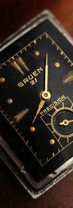 グリュエンの少し小さめの黒文字盤のアンティーク腕時計-W1459-12