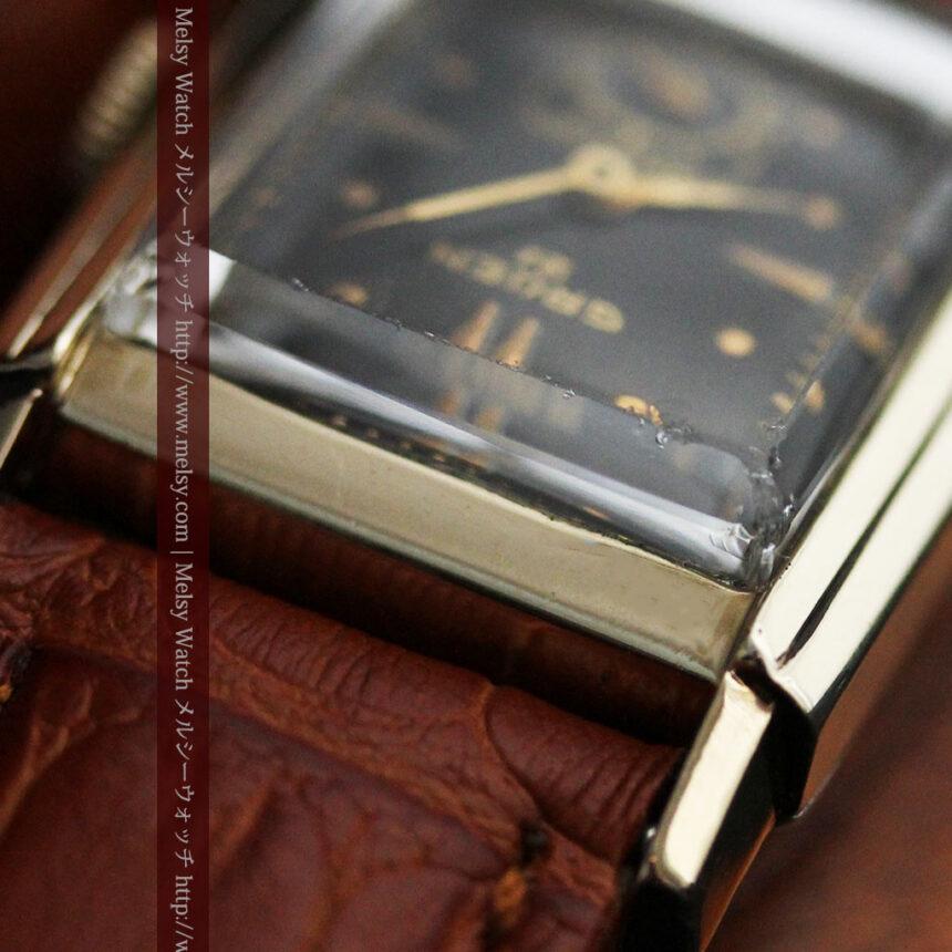 グリュエンの少し小さめの黒文字盤のアンティーク腕時計-W1459-13