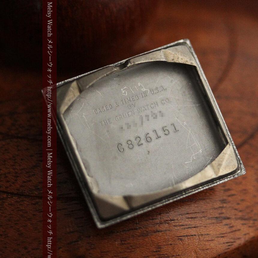 グリュエンの少し小さめの黒文字盤のアンティーク腕時計-W1459-15