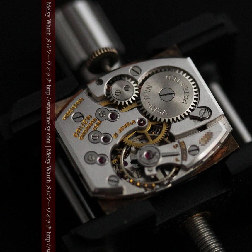 グリュエンの少し小さめの黒文字盤のアンティーク腕時計-W1459-16