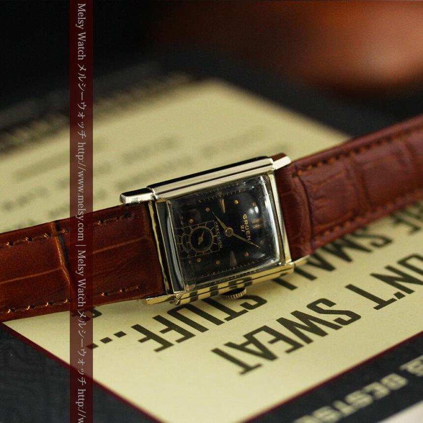 グリュエンの少し小さめの黒文字盤のアンティーク腕時計-W1459-3
