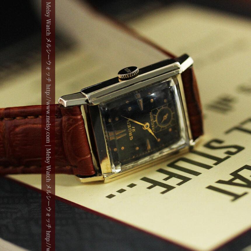 グリュエンの少し小さめの黒文字盤のアンティーク腕時計-W1459-5