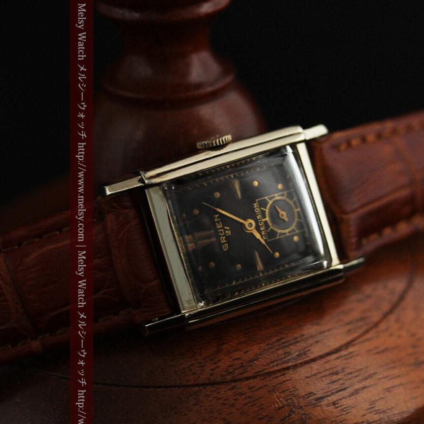 グリュエンの少し小さめの黒文字盤のアンティーク腕時計-W1459-7