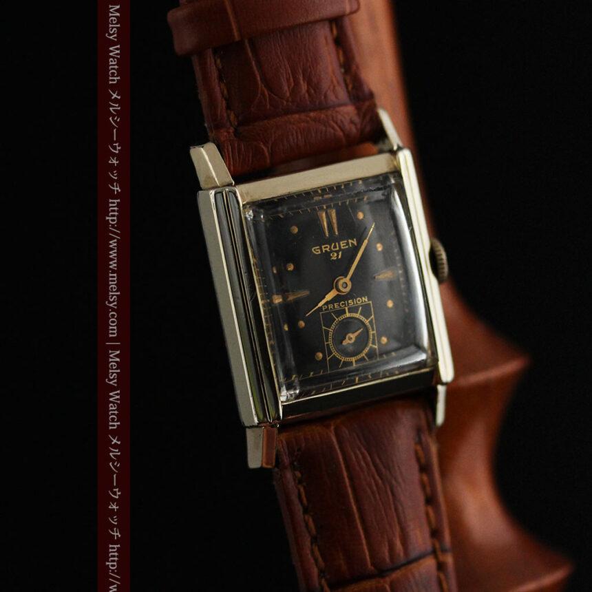 グリュエンの少し小さめの黒文字盤のアンティーク腕時計-W1459-8