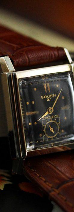 グリュエンの少し小さめの黒文字盤のアンティーク腕時計-W1459-9