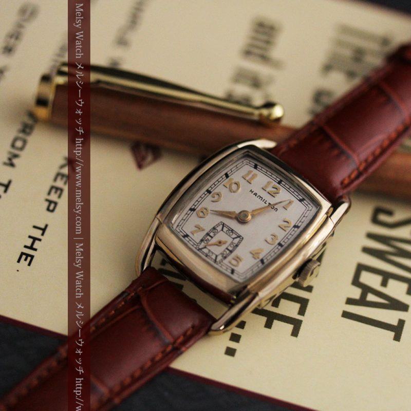ハミルトンの曲線の綺麗な1940年頃のアンティーク腕時計-W1460-1