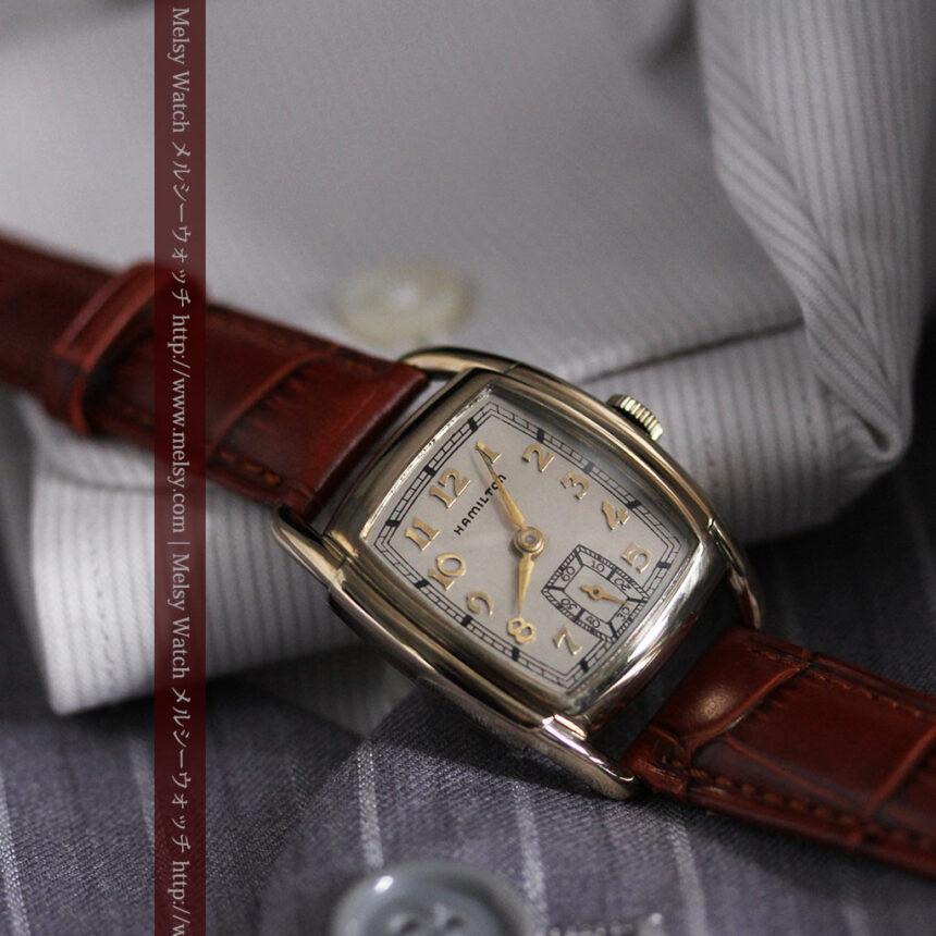 ハミルトンの曲線の綺麗な1940年頃のアンティーク腕時計-W1460-7