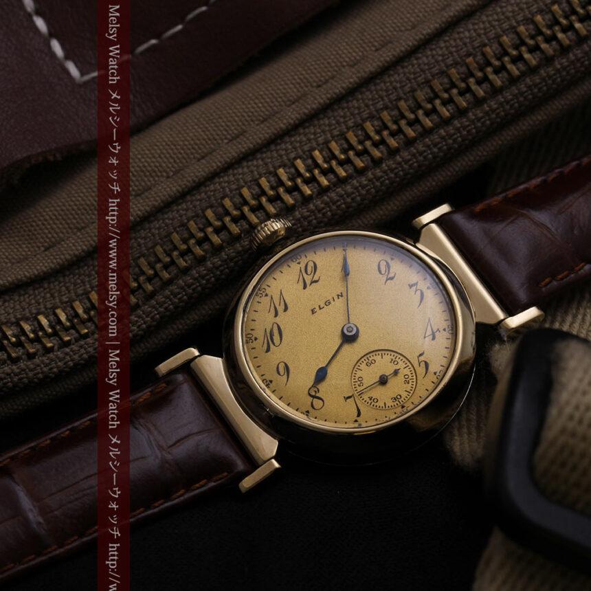 可動ラグを持つエルジンの雰囲気あるアンティーク腕時計-W1462-1