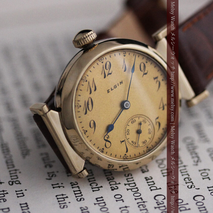 可動ラグを持つエルジンの雰囲気あるアンティーク腕時計-W1462-10