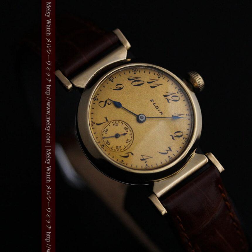 可動ラグを持つエルジンの雰囲気あるアンティーク腕時計-W1462-11