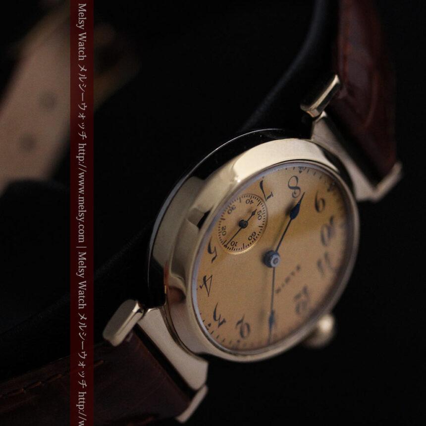 可動ラグを持つエルジンの雰囲気あるアンティーク腕時計-W1462-12