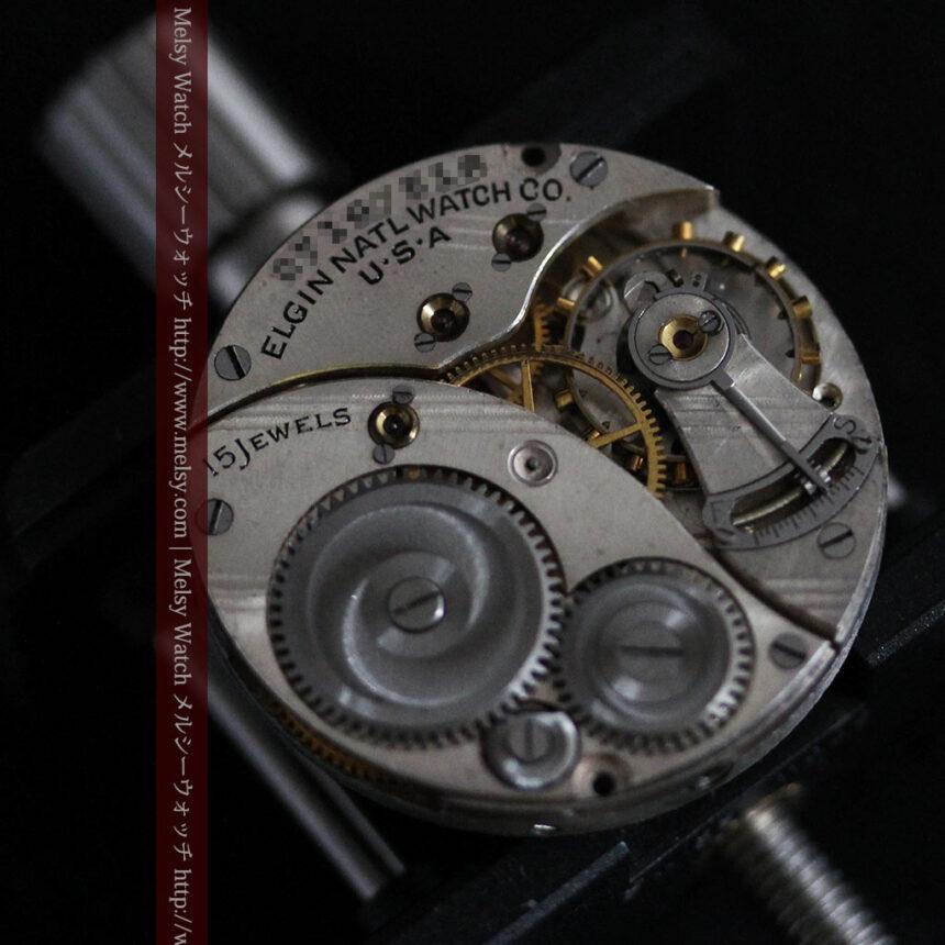 可動ラグを持つエルジンの雰囲気あるアンティーク腕時計-W1462-15