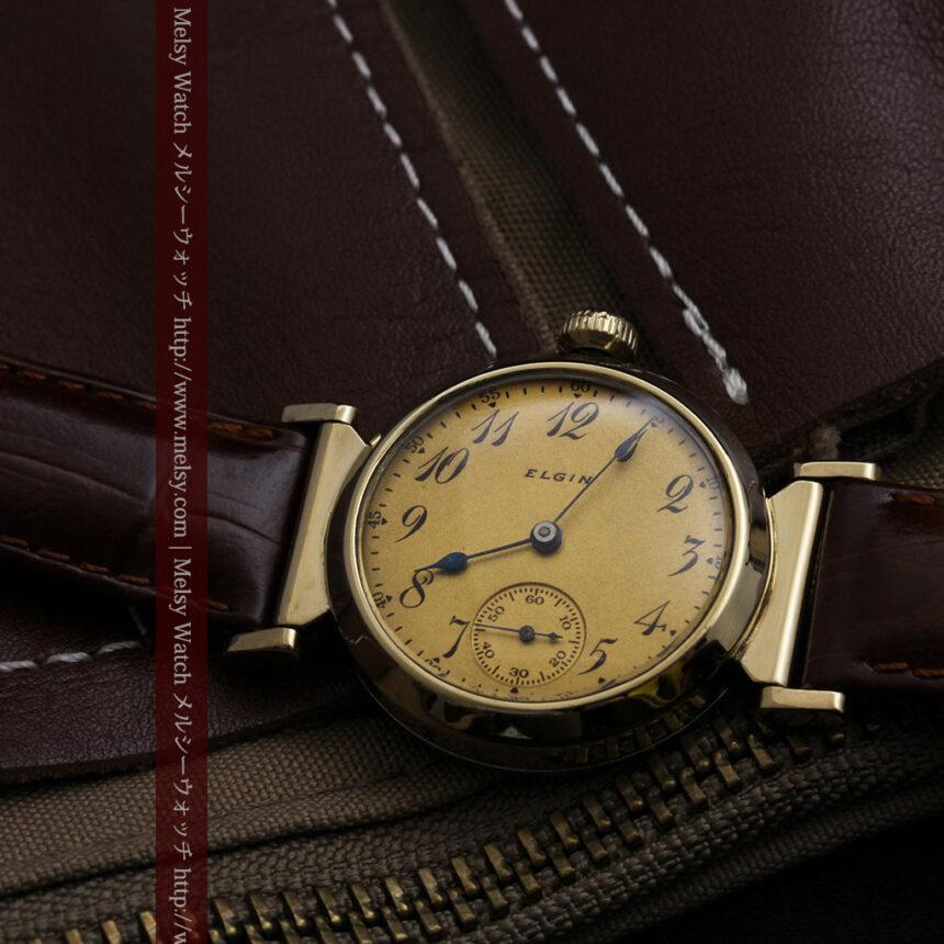 可動ラグを持つエルジンの雰囲気あるアンティーク腕時計-W1462-2