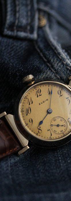 可動ラグを持つエルジンの雰囲気あるアンティーク腕時計-W1462-3