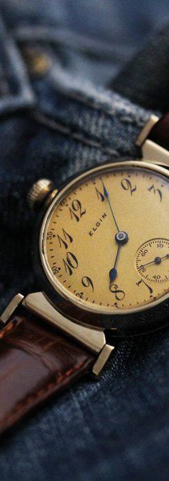 可動ラグを持つエルジンの雰囲気あるアンティーク腕時計-W1462-4